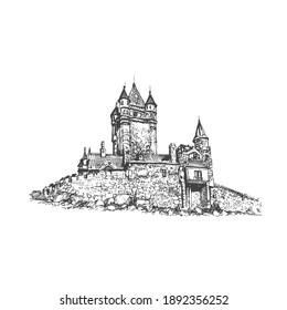 Medieval castle. Vector drawing, sketch