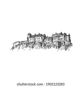 Medieval castle. Vector hand draw sketch.