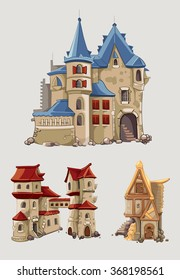 Medieval castles and buildings vector set in cartoon style.  Fantasy architecture with tower building, kingdom tale illustration