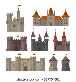 Medieval castles, fortresses and strongholds with fortified wall and towers