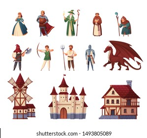 Medieval characters cartoon set with castle and mill isolated vector illustration