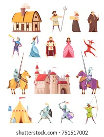 Medieval characters historical buildings cartoon icons set with castle ridders tent peasant king knight princess isolated vector illustration