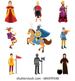 Medieval characters in the historical costumes of medieval Europe set of vector Illustrations