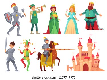 Medieval characters. Royal knight with lance on horseback, princess, kingdom king and queen, historical renaissance chivalry and nobility fairytale isolated vector icons character set