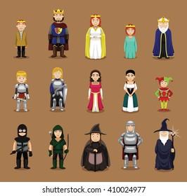 Medieval Characters Set Cartoon Vector Illustration