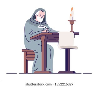 Medieval chronicler with manuscript flat vector illustration. Middle age annalist isolated cartoon characters with outline elements on white background. Ancient literacy and education