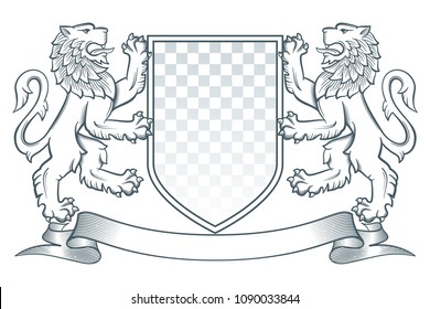 Medieval coat of arms. Two lions hold a shield. Vector Illustration