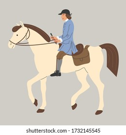 medieval courier on a horse. A jockey on a horse with a bag. Vector flat illustration.