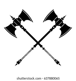 Medieval Crossed Axes Silhouette Icon. Ancient crossed weaponry - War and heraldry concept.