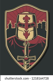 Medieval Crusader, Sword, Shield, Castle Silhouette