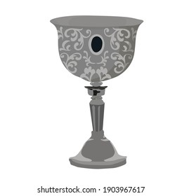 Medieval cup vector stock illustration. The silver bowl is medieval. A knight's glass of wine. Isolated on a white background.