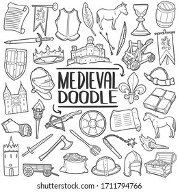 Medieval doodle icon set. Middle Age castle weapons and tools. Vector illustration collection. Hand drawn Line art style.