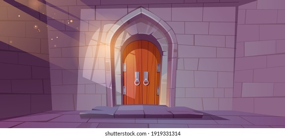 Medieval dungeon or castle interior with wooden arched door and wall of stone bricks, entry to palace with sunlight fall through barred window. Fairytale building exterior, Cartoon vector illustration