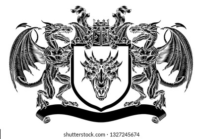 A medieval emblem heraldic coat of arms with dragon supporters flanking shield with knights helmet great helm and crown crest, filigree leaf mantling in vintage retro woodcut style.