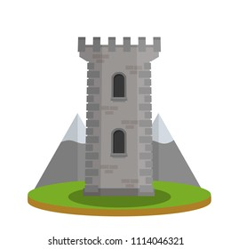 Medieval European knight tower. Stone building of  castle. the Fort strengthened. invulnerable building. tourist attraction. part of old town. grey mountain on background - Cartoon flat illustration