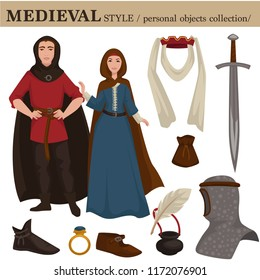 Medieval European old retro fashion style of man knight and woman clothes garments and personal accessories.