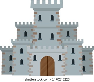 Medieval European stone castle. Knight's fortress. Concept of security, protection and defense. Military building with walls, gates and big tower