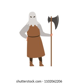 Medieval executioner character standing with ax vector Illustration on a white background