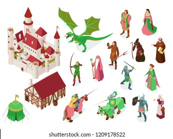 Medieval fairy tale isometric set with royal castle knights priest witch and dragon isolated vector illustration