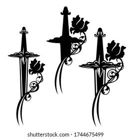 medieval fairy tale knight sword entwined with rose flower black and white vector silhouette and outline design set
