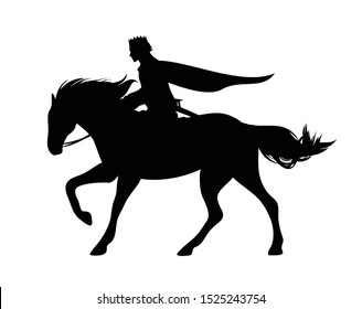 medieval fairy tale prince riding horse - fanatsy horseback hero black and white vector silhouette outline