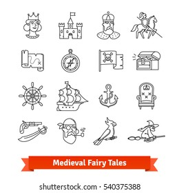 Medieval fairy tales. Thin line art icons set. Adventure book, fantasy board game, pirate saga movie. Linear style symbols isolated on white.