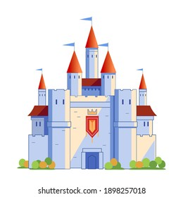 Medieval fairy-tale castle with red towers and blue flags. Cartoon vector illustration isolated on white background