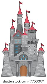 Medieval and fantasy castle. Cartoon vector isolated object