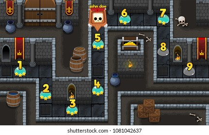 Medieval fantasy dungeon  game level map