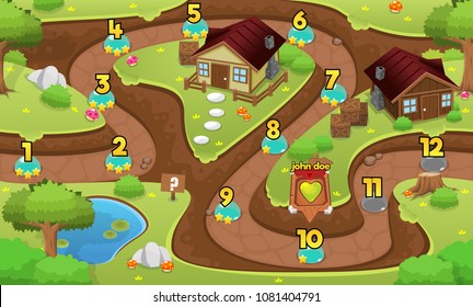 Medieval fantasy village game level map