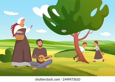 Medieval farmer peasants family vector illustration. Cartoon happy father and mother villagers characters spend time in green farm village field, children play, man playing guitar for woman background