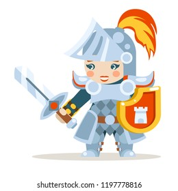 Medieval female knight woman warrior girl fantasy RPG action game layered animation ready character vector illustration