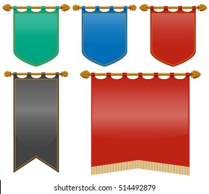 Medieval flags in different colors illustration