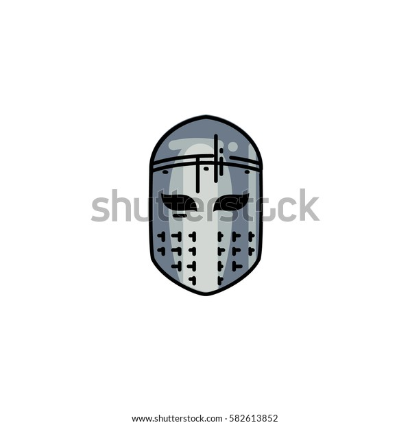 Medieval flat line helmet icon isolated on white background