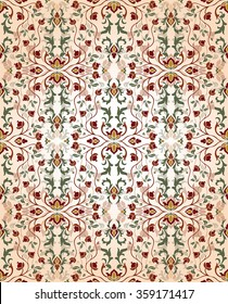 Medieval, floral ornament. Template for oriental carpet, textile, shawl, wallpaper and any surface. Seamless vector  vintage pattern of elegant tracery on a beige background.