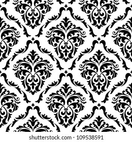 Medieval floral seamless in damask style for design. Jpeg version also available in gallery