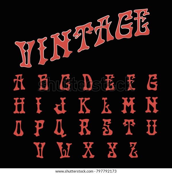 Medieval Font Red Vintage Alphabet Stock Vector (Royalty