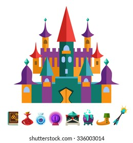 Medieval Fortress and Elements for Games. Vector Flat Illustrations