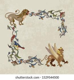 Medieval frame. Mythical creatures of the Renaissance era. Elegant baroque. Gothic style