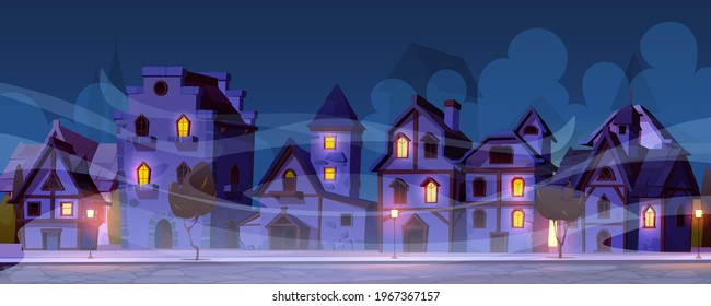 Medieval german night street with half-timbered houses in fog. Traditional european old town buildings with glow windows. Fachwerk cottage cityscape with paving stone road, Cartoon vector illustration