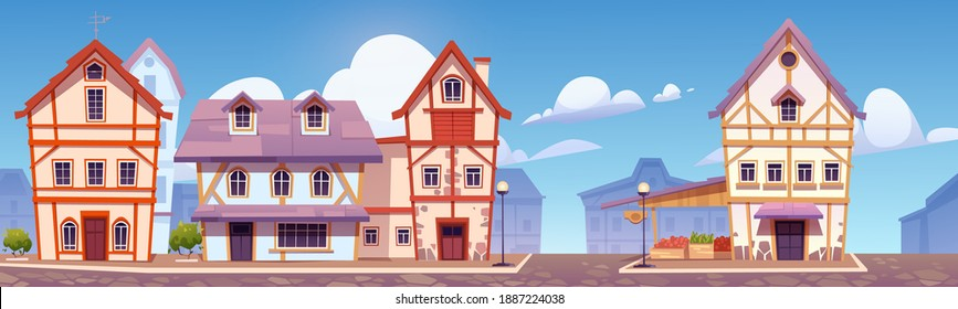 Medieval german street with half-timbered houses. Traditional european buildings in old town or village. Vector cartoon landscape with fachwerk cottages and grocery market