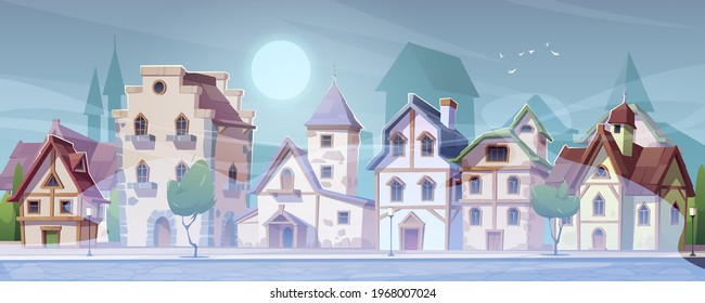 Medieval german street with half-timbered houses in white fog. Traditional european buildings in old town or village at misty weather. Vector cartoon summer landscape with fachwerk cottages and mist