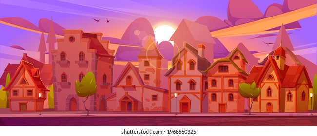 Medieval german street with half-timbered houses at sunset. Traditional european buildings in old town or village at evening. Vector cartoon landscape with fachwerk cottages and sun on purple sky