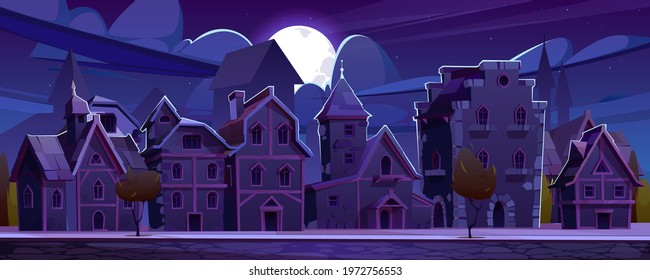 Medieval german street with half-timbered houses at night. Traditional european buildings in old town in moonlight. Vector cartoon landscape with fachwerk cottages, moon and stars on dark sky