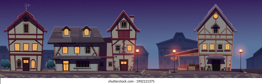 Medieval german street at night with half-timbered houses. Traditional European buildings in old town. Fachwerk cottages and grocery market cityscape with paving stone road, Cartoon vector illustration