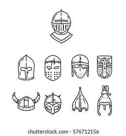 Medieval helmets set isolated on white. Vector flat line illustration.
