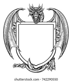 A medieval heraldic coat of arms crest emblem featuring dragon and shield.