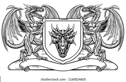 A medieval heraldic coat of arms emblem featuring rampant guardant dragon animal supporters flanking a shield charge in a vintage woodblock style.