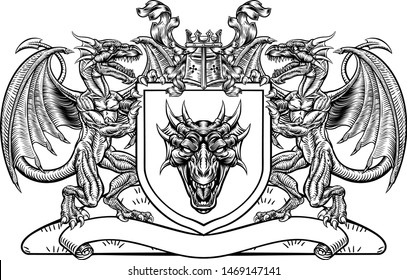 A medieval heraldic coat of arms emblem featuring dragon supporters flanking shield charge with knights helmet great helm and crown crest and filigree leaf mantling in a vintage retro woodblock style.