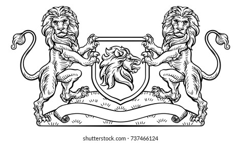 A medieval heraldic coat of arms emblem featuring rampant guardant lion animal supporters flanking a shield charge in a vintage woodblock style.